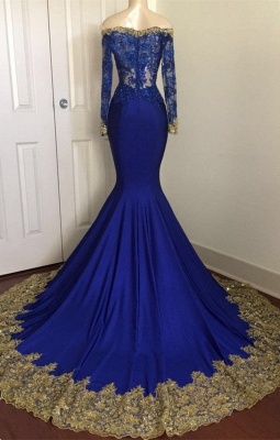 Off The Shoulder Royal Blue Prom Dresses | Gold Lace Appliques Sexy Evening Dress with Sleeve BA8283_4