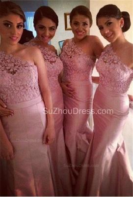 Pink Mermaid One Shoulder Bridesamid Dresses Lace Elegant  Floor Length Wedding Party Dresses_1