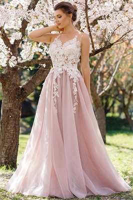 Lace Appliques Pink Tulle Formal Dress  Sleeveless Sheer Tulle Prom Dress_1