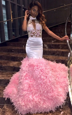 New Arrival Pink High Neck Mermaid Prom Dresses  Keyhole Applqiues Evening Dresses SK0129_1
