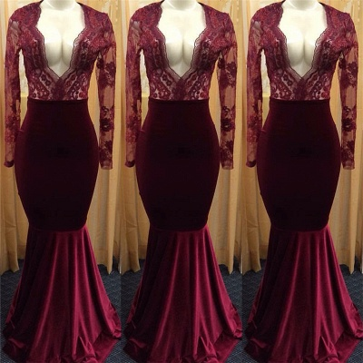 Sexy Deep V-neck Burgundy Lace Long Sleeve Prom Dress  Mermaid Velvet Evening Gown_3