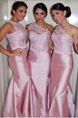 Pink Mermaid One Shoulder Bridesamid Dresses Lace Elegant  Floor Length Wedding Party Dresses_3
