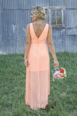 New Arrival Chiffon A-Line  Bridesmaid Dress Lace Applique Hi-Lo Wedding Party Dress_6