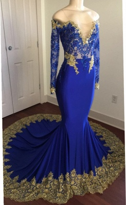 Off The Shoulder Royal Blue Prom Dresses | Gold Lace Appliques Sexy Evening Dress with Sleeve BA8283_1