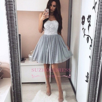 A-Line Short Sweetheart Appliques Simple Appliques Homecoming Dress_1