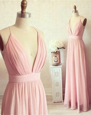 Spaghetti Straps Deep V-neck Evening Gown Chiffon   Summer Party Dress CE0076_1
