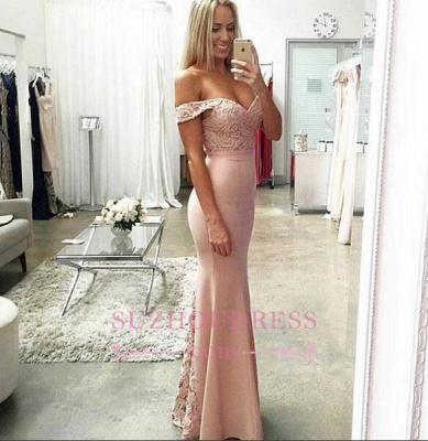 Sheath Lace Off-the-shoulder Long Prom Dress  Floor Length Sexy  Evening Dresses BA3513_3