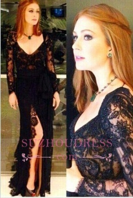 Amazing Side Slit Open Back Formal Dresses Long Sleeves Black Lace Evening Gowns_2