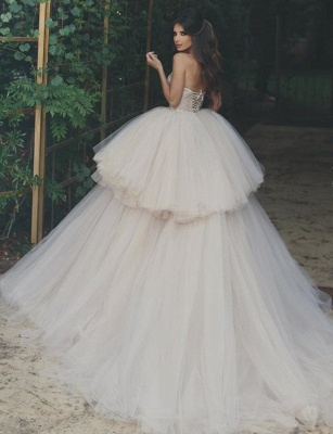 Glamorous Strapless Tulle Wedding Dresses  Lace Up Tiered Bridal Gowns BA8043_3