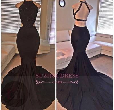 Sleeveless Backless Lace  Evening Gown Mermaid Black Long Prom Dresses BA2666_3