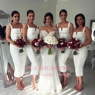 Straps White Tea Length Modest Sleeveless Bodycon Bridesmaid Dress_1