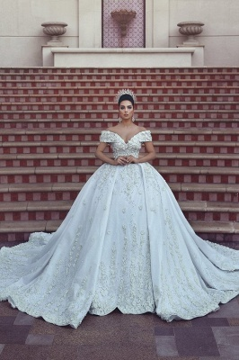 Princess Lace Appliques Wedding Dress with Beads| Off The Shoulder Ball Gown Bride Dress with Long Train_1