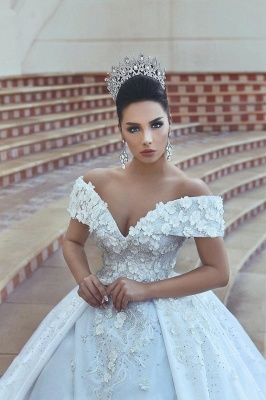Princess Lace Appliques Wedding Dress with Beads| Off The Shoulder Ball Gown Bride Dress with Long Train_4