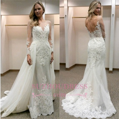 Open-Back Simple Appliques Sheath Long-Sleeves Tulle Wedding Dress_1
