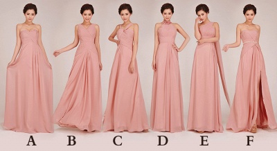 Convertable Pink Long Bridesmaid Dress Popular Chiffon Side Silt Plus Size Dresses for Wedding_4