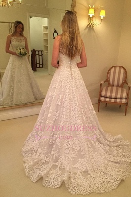 Lace Spaghetti-Straps Wedding Dress    Sweep-Train Sleeveless Bridal Gows with Buttons_1