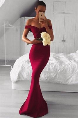 Off The Shoulder Sheath Sexy Formal Evening Dress   Burgundy Prom Dress_1