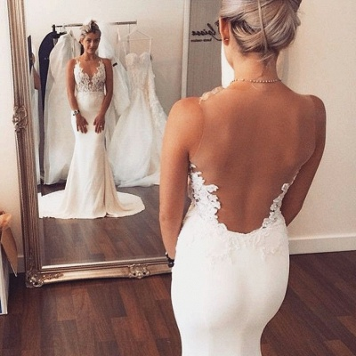Sheer back Mermaid Wedding Dress Sleeveless Lace summer Beach Wedding Gowns BA3612_3