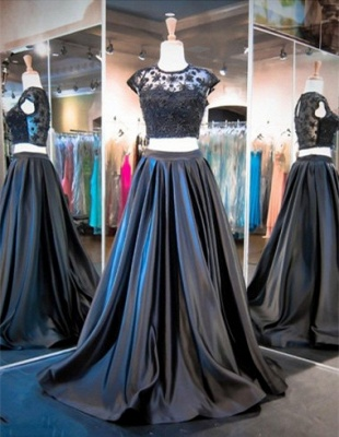Elegant Cap Sleeve Two Piece Prom Dress New Arrival Sweep Train Evening Gowns_1
