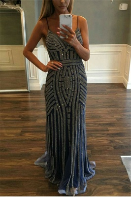 Full Beadings Crystals Spaghetti Straps Prom Dresses Sleeveless Popular Evening Gowns_5