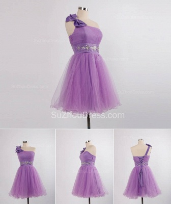 Elegant One Shoulder Lace-up Mini Dresses for Juniors Crystal Short Bowknot Formal Popular Homecoming Dresses_1