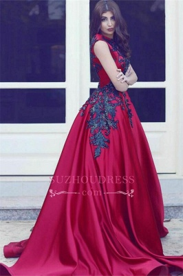 Elegant Red High Neck Sleevess Evening Dresses  Long Train Black Lace Prom Dresses MH078_3