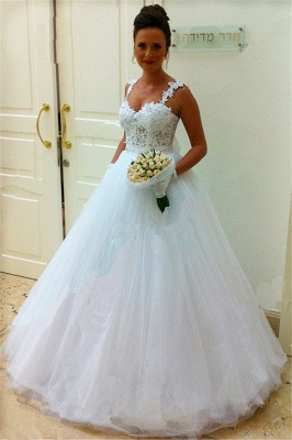 Straps Lace Top Puffy Tulle Wedding Dress  Ball Gown Sleeveless Bridal Gowns_3