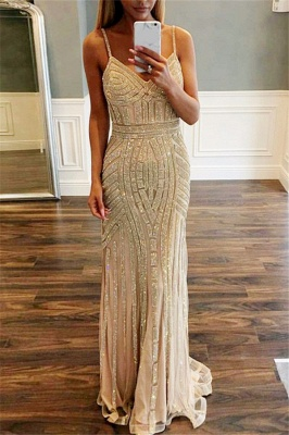 Full Beadings Crystals Spaghetti Straps Prom Dresses Sleeveless Popular Evening Gowns_3