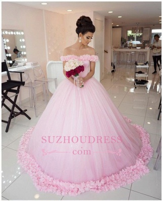 Chic Pink Off The Shoulder Evening Dresses  Ball Gown Flowers Puffy Wedding Dresses_1