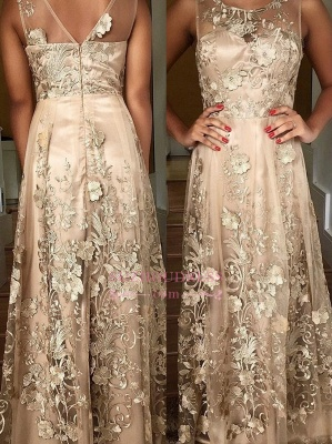 Long Lace Appliques Prom Dresses  | A-line Sleeveless Scoop Evening Gown_1