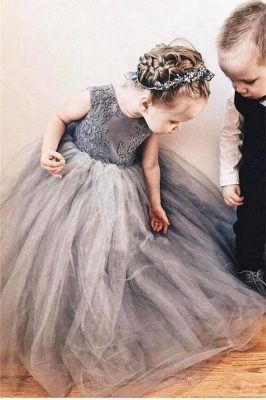 Cute Tulle Flower Girl Dress  |  Lace Bowknot Girls Pageant Dresses Lovely_3