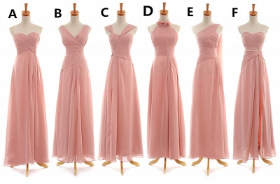 Convertable Pink Long Bridesmaid Dress Popular Chiffon Side Silt Plus Size Dresses for Wedding_2