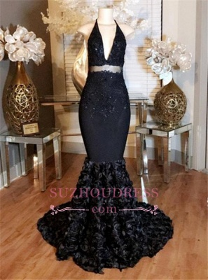Mermaid Lace-Appliques Prom Halter Dress with Deep-V-Neck Rose Flowers  BA5137_1