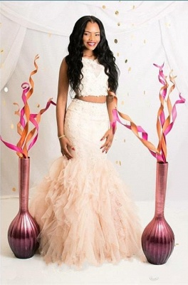 Sexy Two Pieces Prom Dresses  Mermaid Ruffles Soft Tulle Beading Long Evening Gowns_1