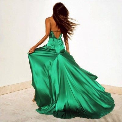 Spaghetti Strap V-Neck  Party Dresses Latest Side Split  Evening Gown AE0105_3