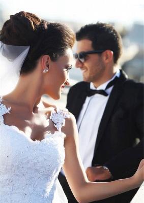 Sexy Mermaid Lace Straps Wedding Dress  Sweetheart Sheer Back Bridal Dress_3