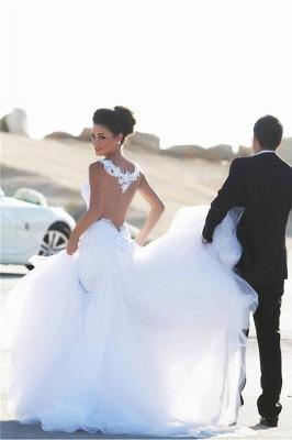 Sexy Mermaid Lace Straps Wedding Dress  Sweetheart Sheer Back Bridal Dress_5