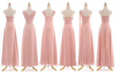Convertable Pink Long Bridesmaid Dress Popular Chiffon Side Silt Plus Size Dresses for Wedding_3