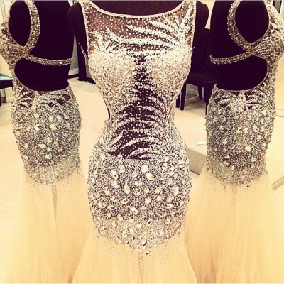 Sexy Crystal Mermaid  Evening Dress Sparkly Beading Tulle Open Back Party Dresses CE0149_3