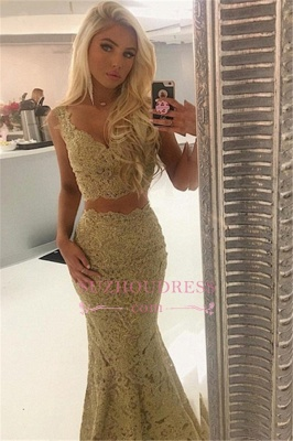 Sexy Lace Two-Pieces Evening Dresses | Straps Sleeveless Mermaid Prom Dresses_3