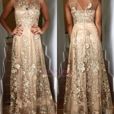 Long Lace Appliques Prom Dresses  | A-line Sleeveless Scoop Evening Gown_3