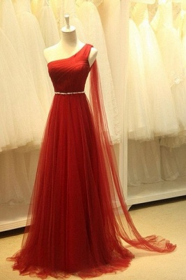 Elegant One Shoulder Evening Dresses Sheer Tulle Ruffles Dark Red Elegant Prom Dresses_1