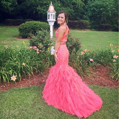 Sexy Two Pieces Prom Dresses  Mermaid Ruffles Soft Tulle Beading Long Evening Gowns_5