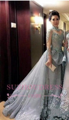Modest Tulle Long-Sleeves High-Neck Appliques Prom Dress_4