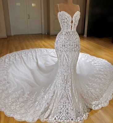 Glamorous Spaghetti Straps Appliques Wedding Dresses Lace Mermaid Bridal Gowns Online_3