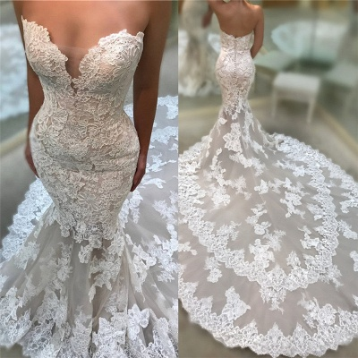 Chic Cathedral Train Lace Wedding Dresses Backless Strapless Mermaid Bridal Gowns On Sale_3