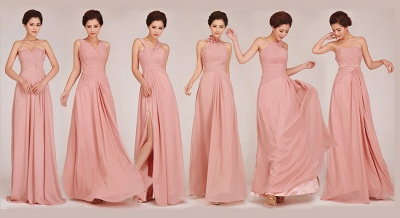 Convertable Pink Long Bridesmaid Dress Popular Chiffon Side Silt Plus Size Dresses for Wedding_5