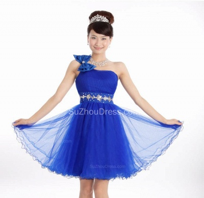 Elegant One Shoulder Lace-up Mini Dresses for Juniors Crystal Short Bowknot Formal Popular Homecoming Dresses_2