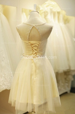 Cute Fitted Crystal Short Tulle Homecoming Dresses with Belt  Mini Lace-up Halter Plus Size Dresses Under 100_2