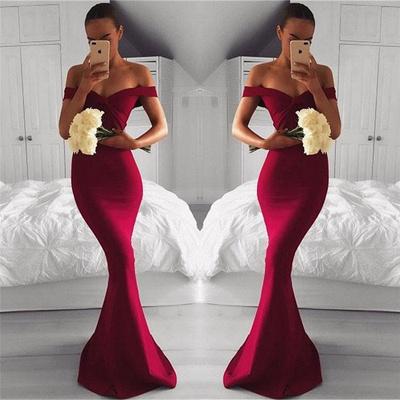 Off The Shoulder Sheath Sexy Formal Evening Dress   Burgundy Prom Dress_3